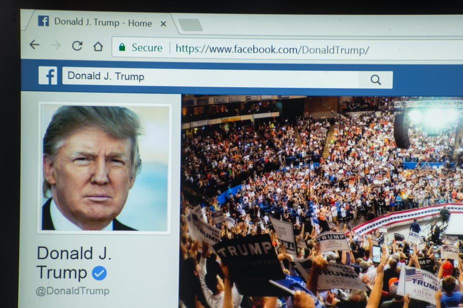 Donald Trump's Facebook page with photo of him and another of his supporters