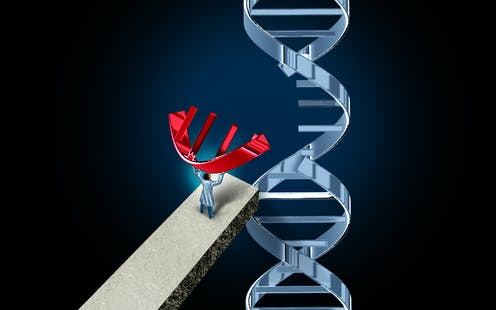 illustration of scientist editing a chance of DNA
