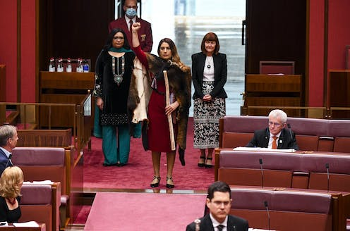 Woman in Senate chamber of Parliament with fur cloak, fist raised, holding message stick.