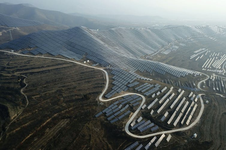 A solar array in China