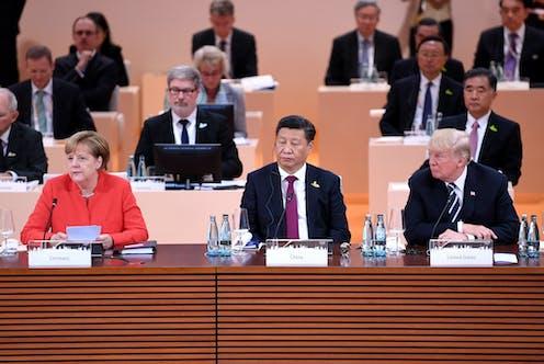 Angela Merkel, Xi Jinping and Donald Trump