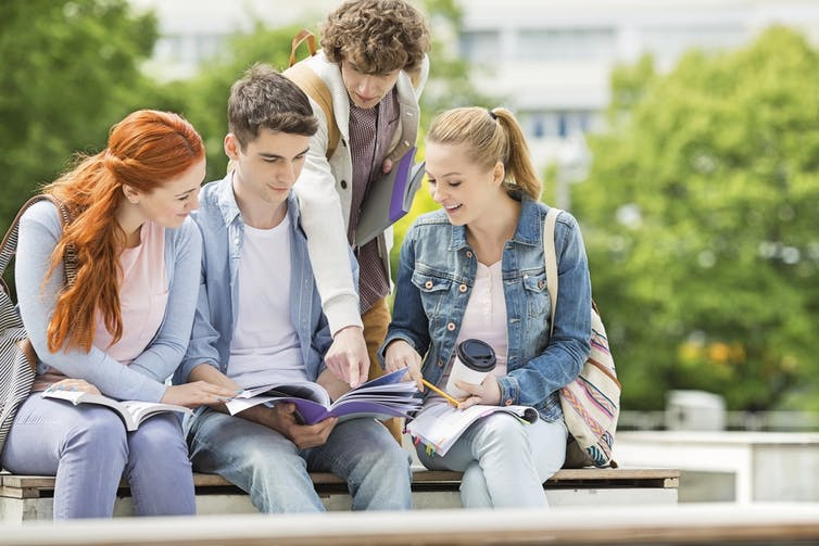 Group of young adult students outside looking at books and papers, studying