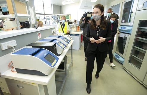 New Zealand's prime minister visiting a medical facility.