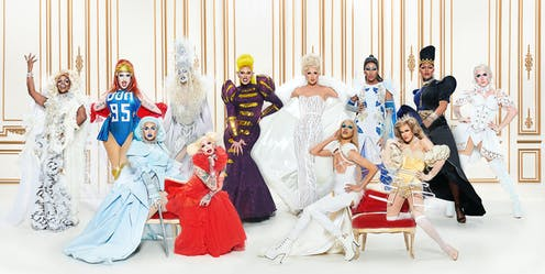 The 12 drag queens of Canada's Drag Race posing.