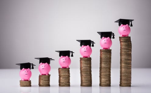 A row of ascending coins topped with piggy banks in graduation caps.