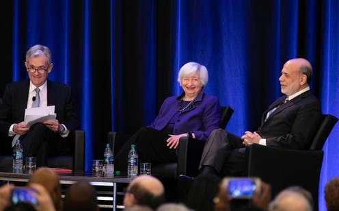 Federal Reserve Chair Jerome Powell and former Chairs of the Federal Reserve Janet Yellen and Ben Bernanke participate in a panel discussion at the American Economic Association conference on Jan. 4, 2019 in Atlanta, Georgia.