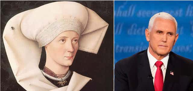 An image of a Renaissance portrait of a woman with a fly and Vice President Mike Pence with a fly.