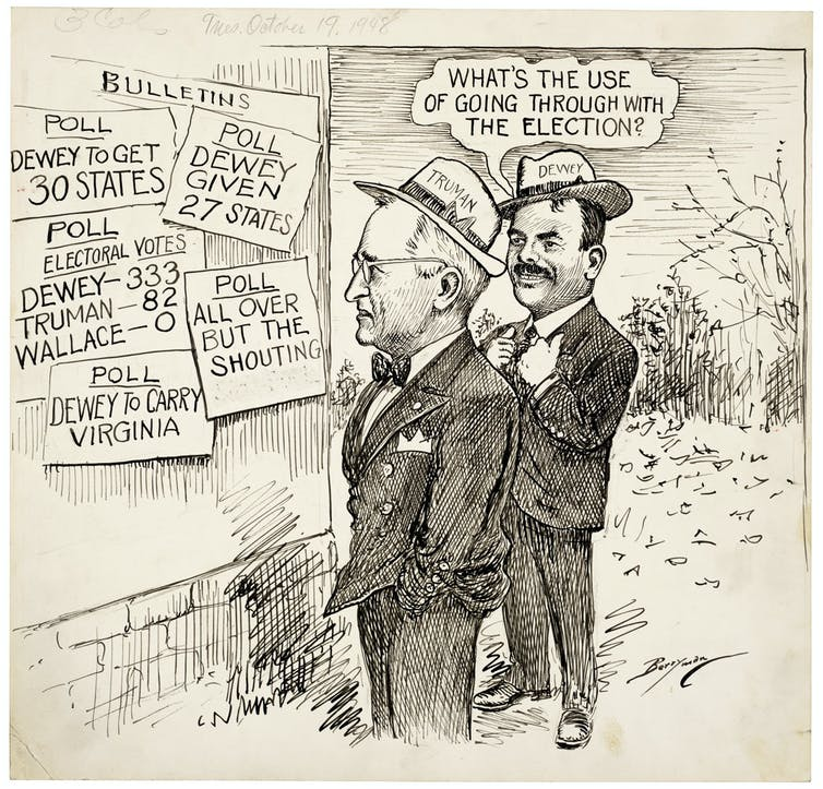 Candidates Harry Truman and Thomas Dewey in a cartoon featuring many predictions of Dewey's win.