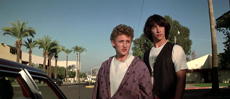 Young actors in Bill and Ted movies scene.
