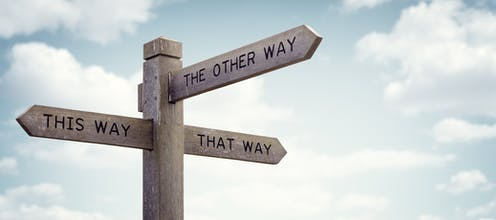 A sign labelled 'this way', 'that way' and 'the other way'.