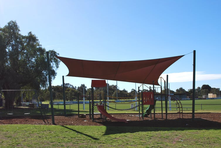 Playground in front of a football oval.