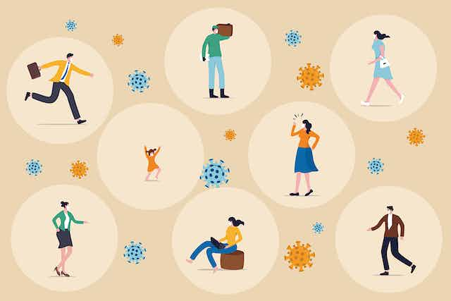 An illustration of people surrounded by bubbles with virus particles in between them.