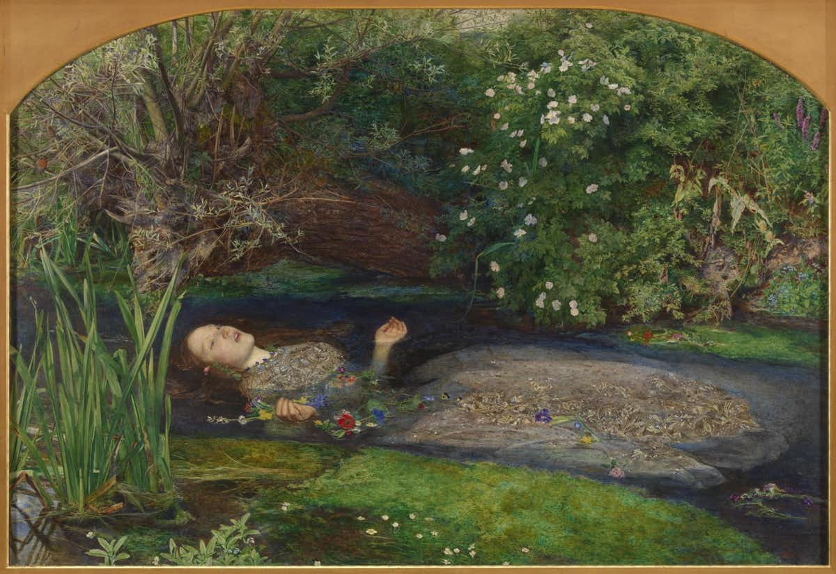 Painting of Ophelia floating after she drowned in a river.