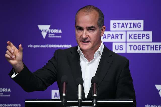 Victorian Education Minister James Merlino at press conference announcing money for catch-up tutors.