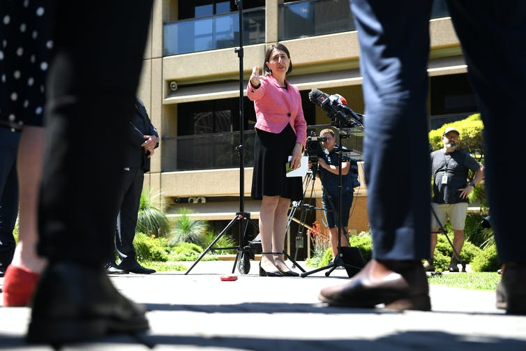 NSW Premier Gladys Berejiklian in a press conference at NSW Parliament.
