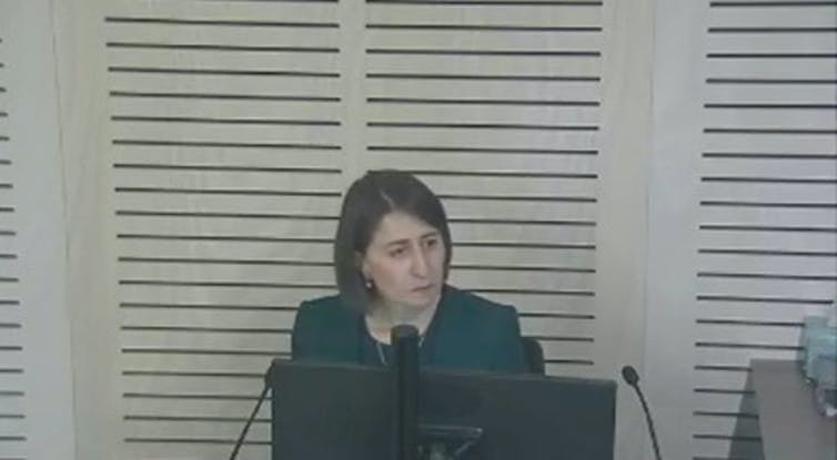 Screengrab of Gladys Berejiklian at the ICAC hearing on Tuesday.