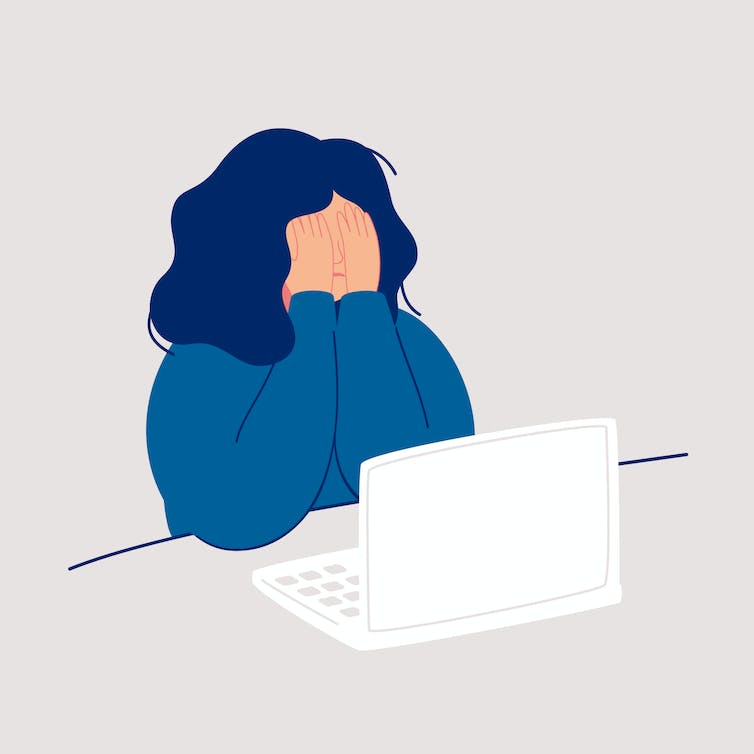 Illustration of distressed woman at computer.