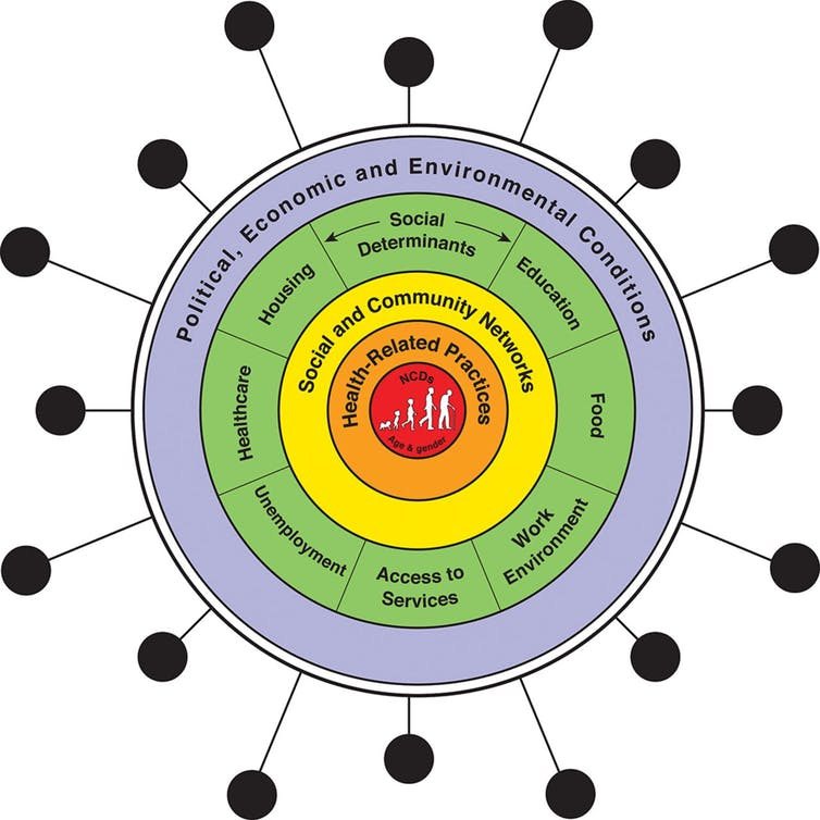 Graphic showing interactions of COVID-19 with social determinants of health and non-communicable diseases
