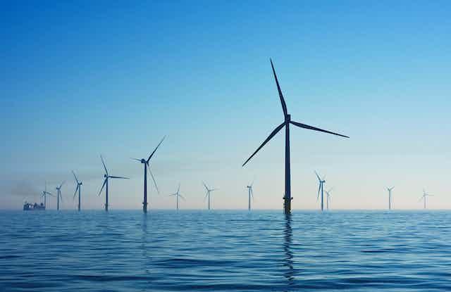 Wind turbines at sea.