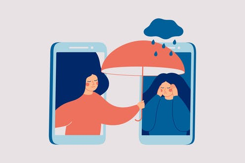 Drawing of one woman sheltering another from the rain, as framed by two cell phones.