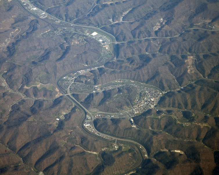 Aerial shot of Pikeville, Kentucky