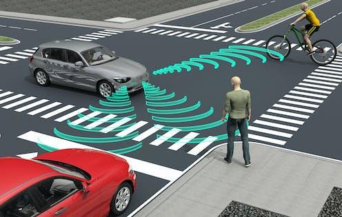 Ilustración de un vehículo autónomo cerca de un paso de cebra, un peatón, un ciclista y otro vehículo.