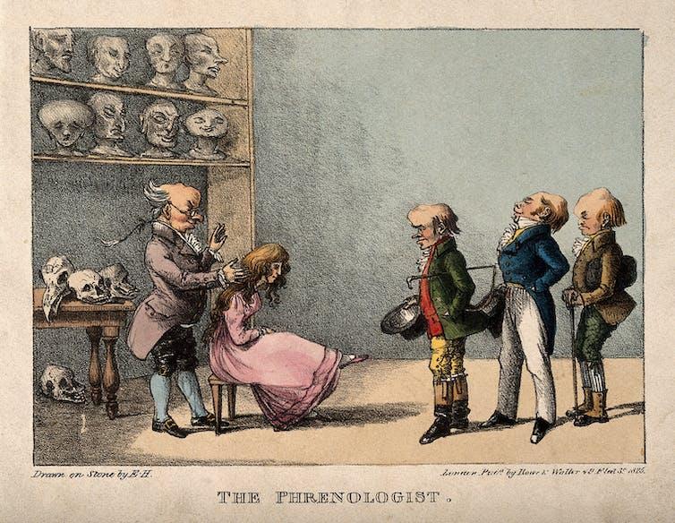 Franz Joseph Gall examina la cabeza de una niña. Wikimedia Commons / Wellcome Collection / Edward Hull