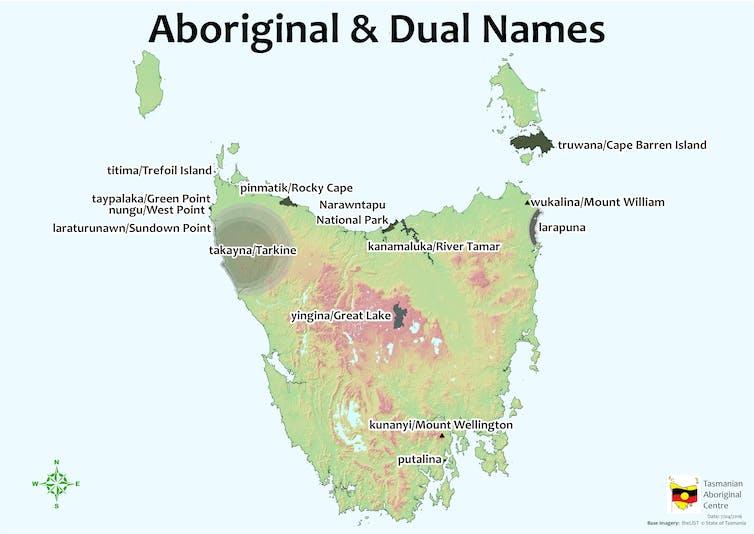 Map of Lutruwita/Tasmania showing Indigenous and English names