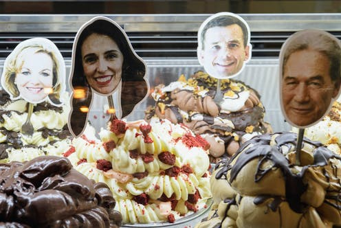 ice cream with pictures of politicians on sticks