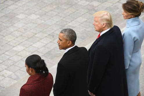 Michell and Barack Obama and Donald and Melania Trump.