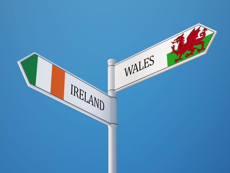 Signpost pointing to Ireland and Wales