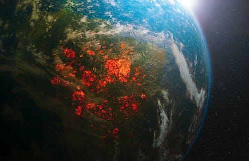 Vista de Brasiil con incendios