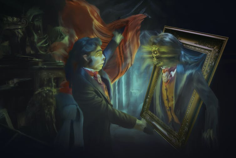 An illustration of a young man holding a framed portrait — the person in the portrait is a twisted version of the man and appears to be emerging from the frame