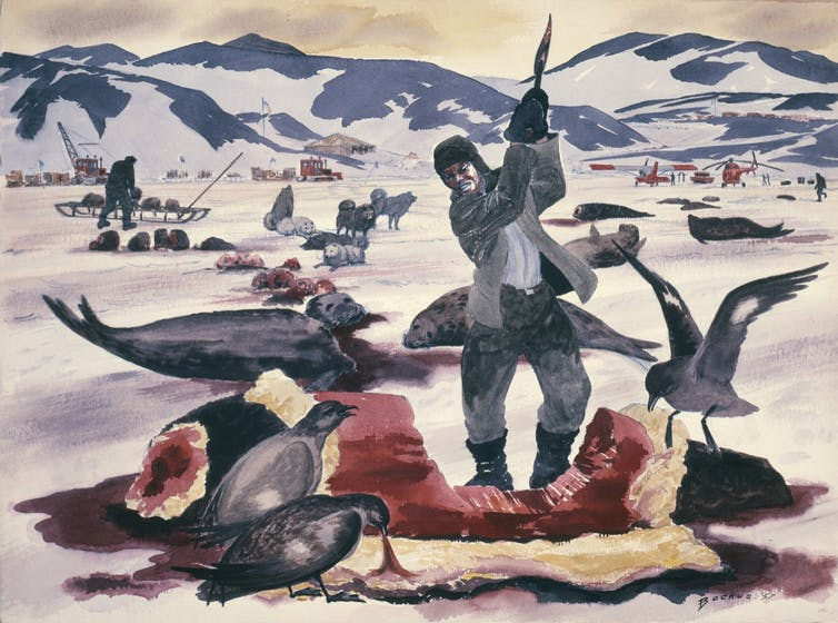 Watercolor painting depicting an Antarctic landscape with a man in the foreground swinging an ax into the bloody carcass of a seal.