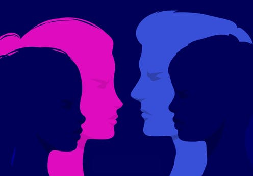 Silhouettes of a woman's face and a man's face with silhouettes of a girl and boy child superimposed