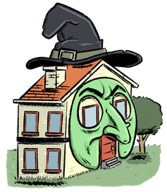 A cartoon house with witch's hat and Halloween face.
