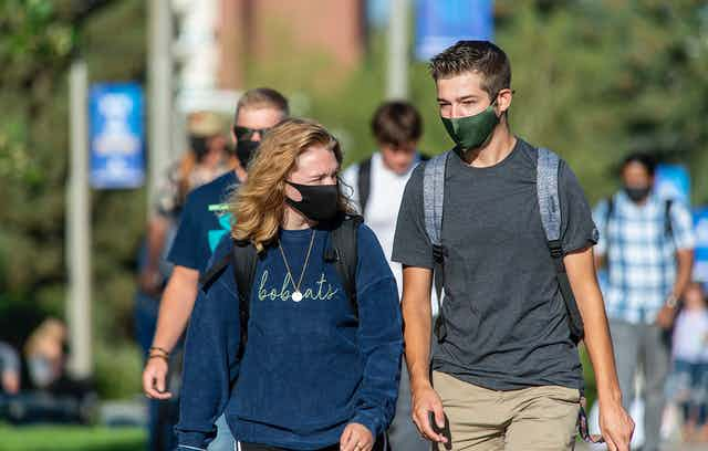 Students on the Montana State University campus.