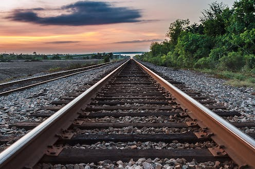 Railway tracks stretching into the distance