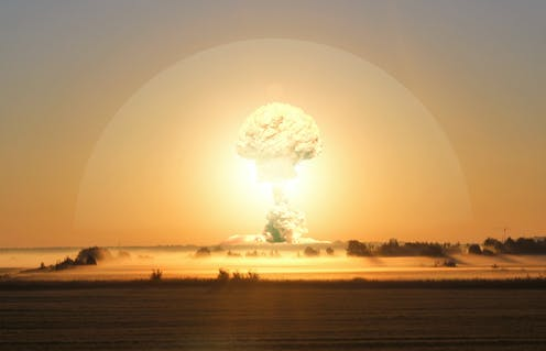 Illustration of a nuclear bomb explosion, lighting up the atmosphere