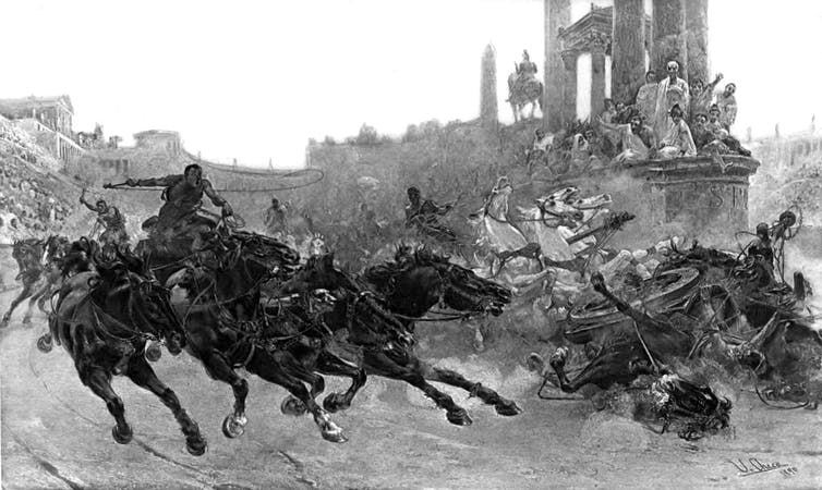 Black and while illustration of ancient Roman chariot race scene