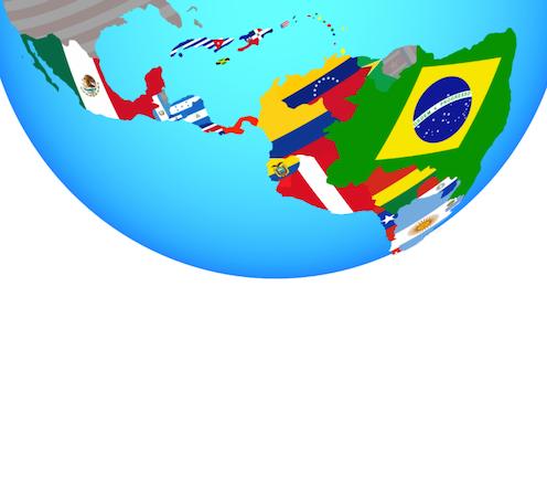 Globo terráqueo con vista de América Latina. Cada país dibujado con su bandera.