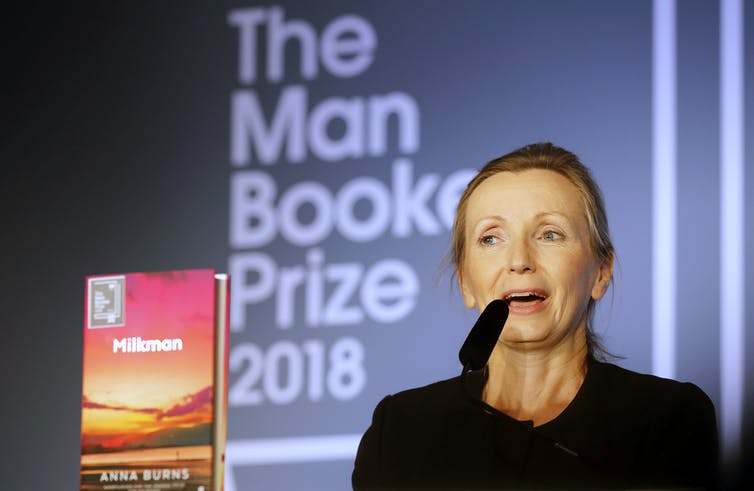Anna Burns on stage after she was awarded the Booker prize for Fiction.