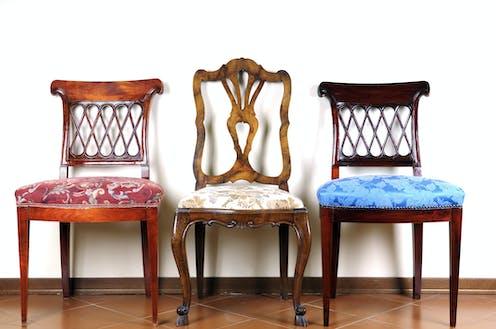 Three empty chairs