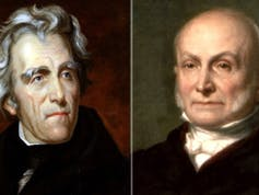Portraits of Andrew Jackson and John Quincy Adams.