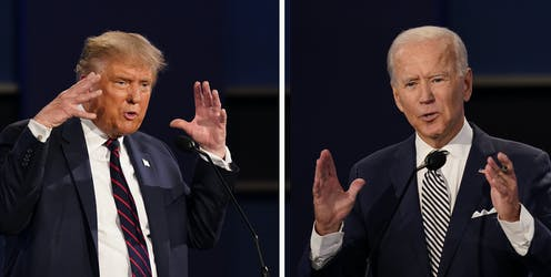 Trump and Biden are seen mid-gesture in a composite photo of the first debate.