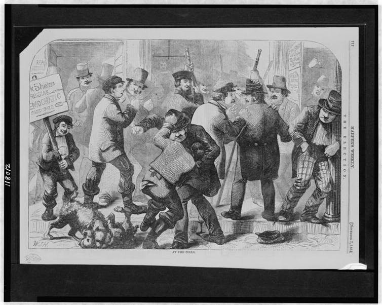 Men fighting at the polls in 1857