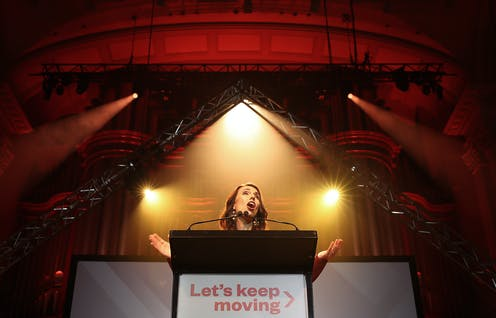 Jacinda Ardern speaking to Labour supporters in Auckland on election night.