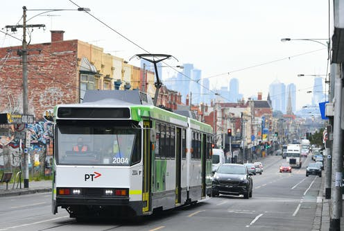 Tram on a Melbourne street