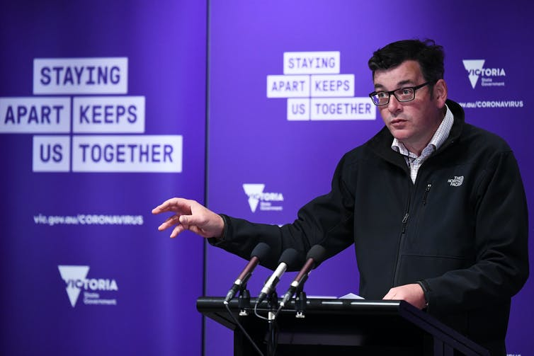 Daniel Andrews speaking to the media