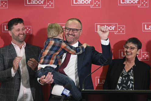 Chief Minister Andrew Barr claiming victory in the ACT election